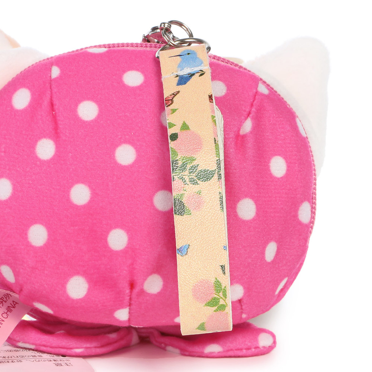 Choo Choo Cat Mini Coin Pouch - Cute Dots Hood ( Synthetic Leather Hand Strip )