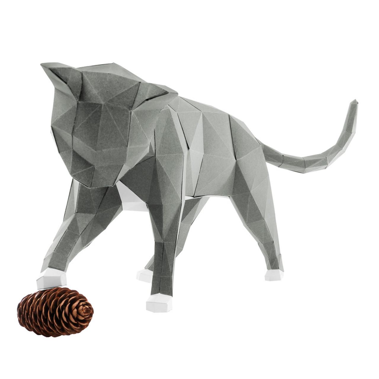 DIY Paper Art Craft Neko Cat Polygon Model ( Cover View )