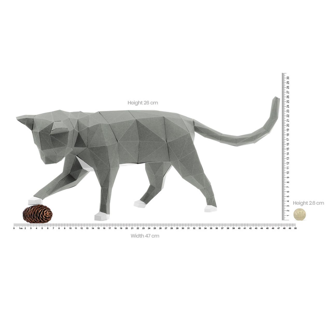 DIY Paper Art Craft Neko Cat Polygon Model ( Proportion )