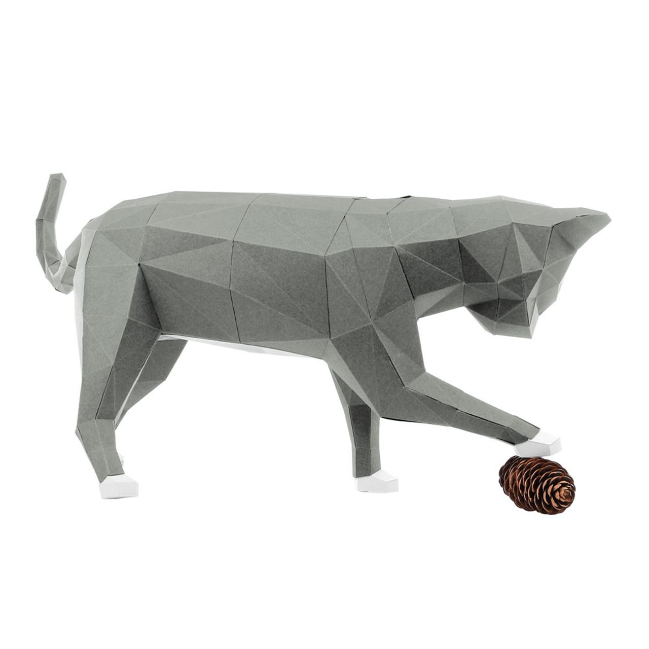 DIY Paper Art Craft Neko Cat Polygon Model ( Right Side View )