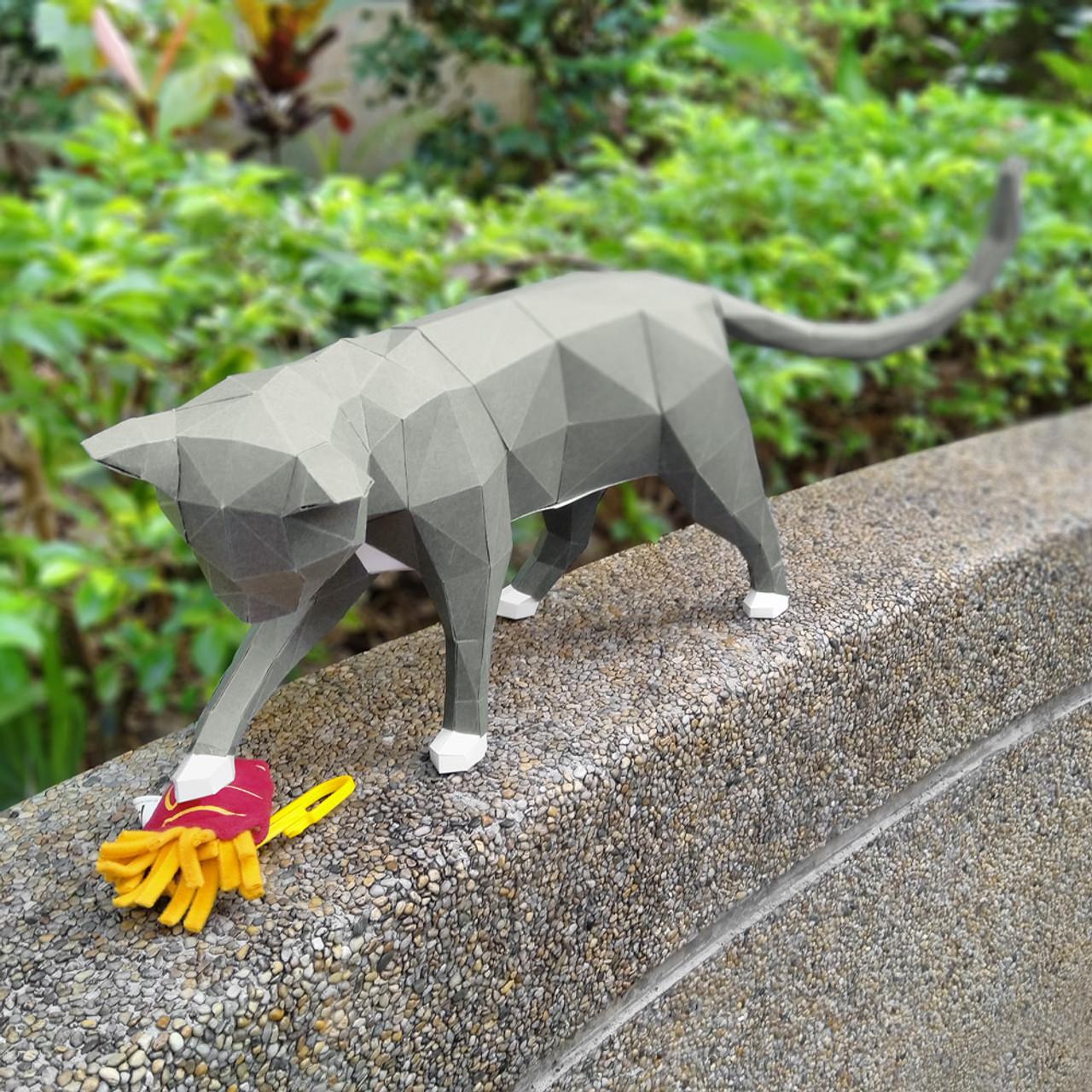 DIY Paper Art Craft Neko Cat Polygon Model ( Snap Shot )