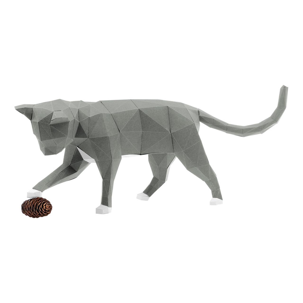 DIY Paper Art Craft Neko Cat Polygon Model ( Left Side View )