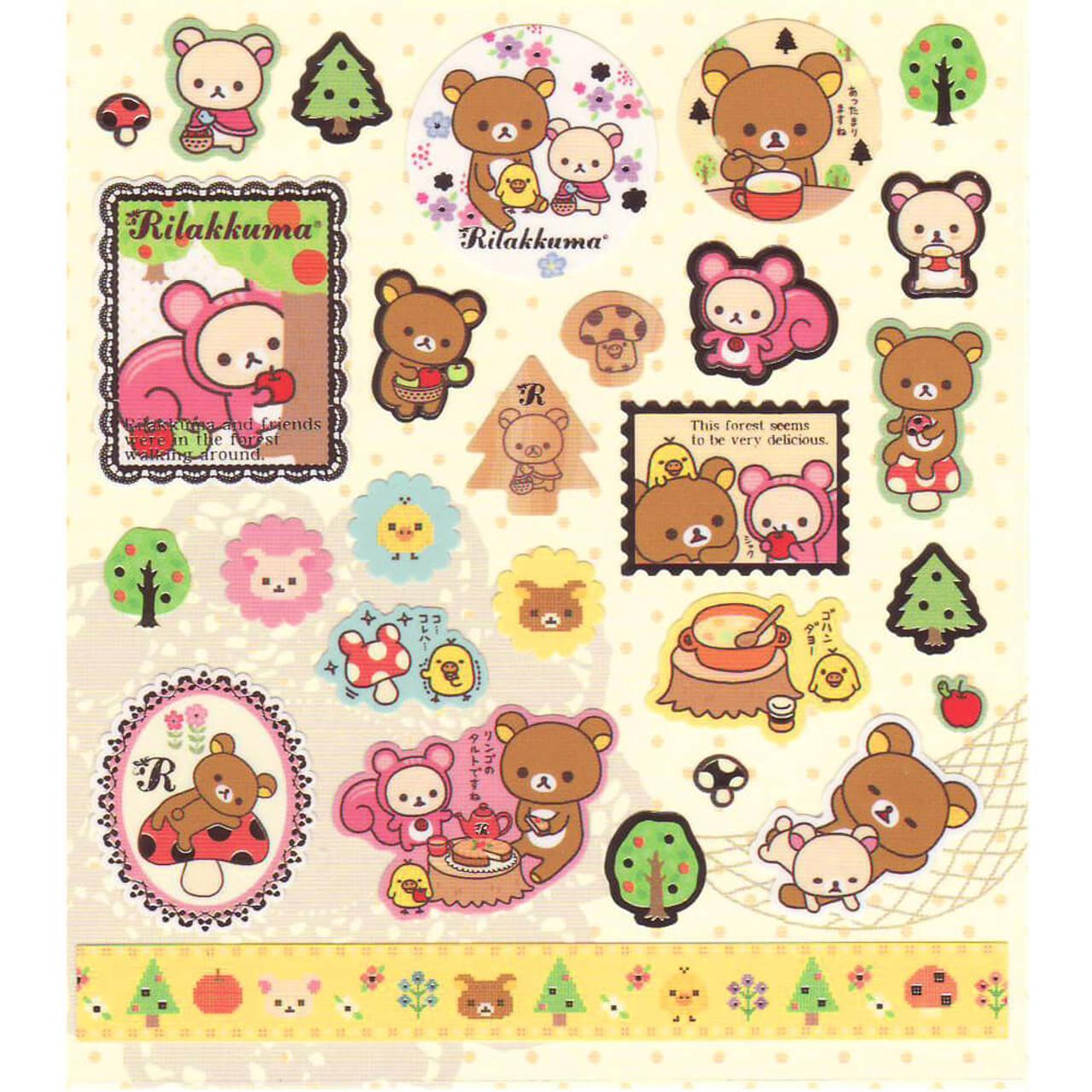 Rilakkuma Bear Relaxing In Forest Sticker SE03401 ( Bottom View )