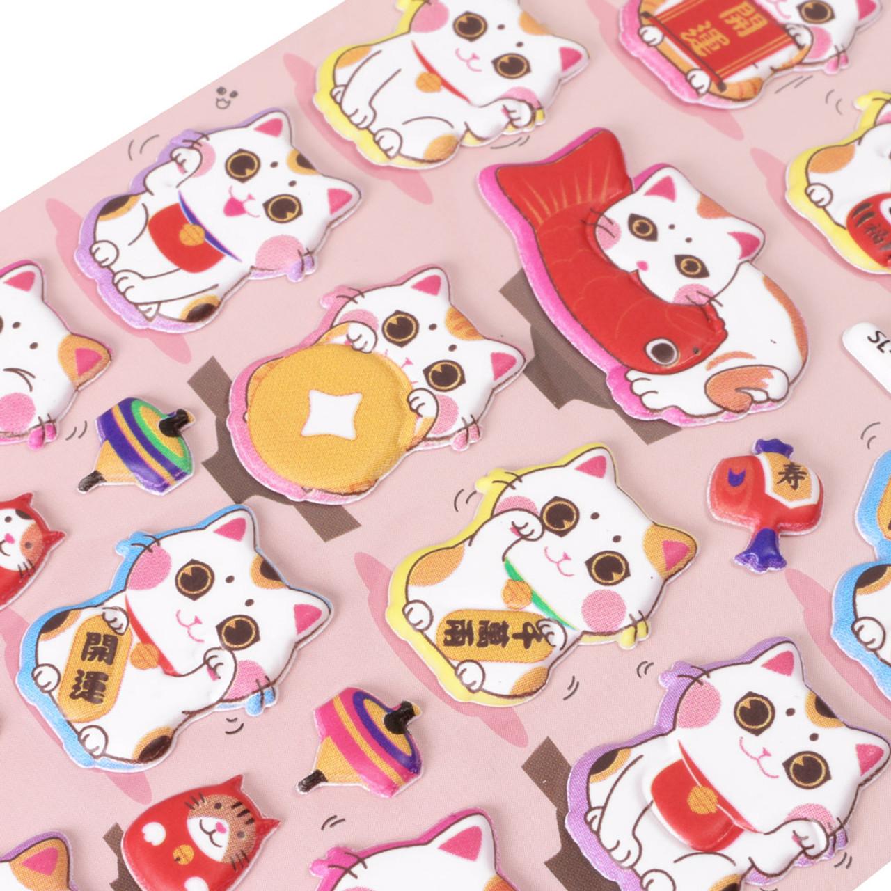 Bulge Up Big Eyes Fortune Cat Sticker SL-TR-PINK ( Close-up )