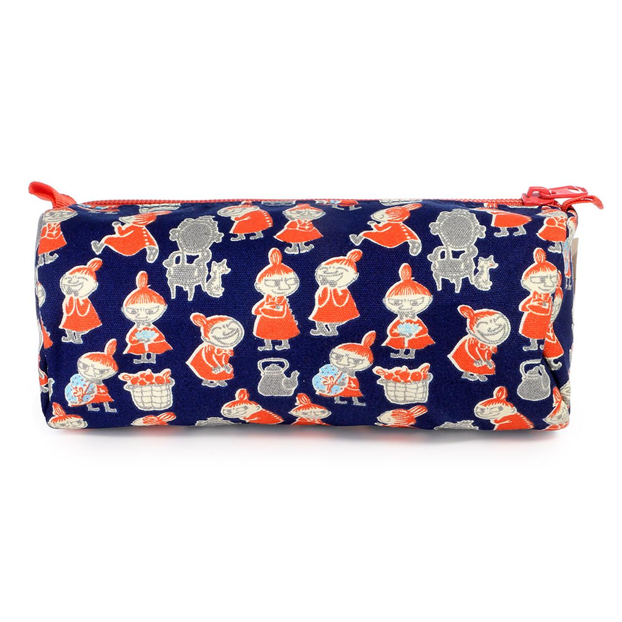 Moomin Canvas Barrel Pencil Case - Navy Blue  ( Front View )