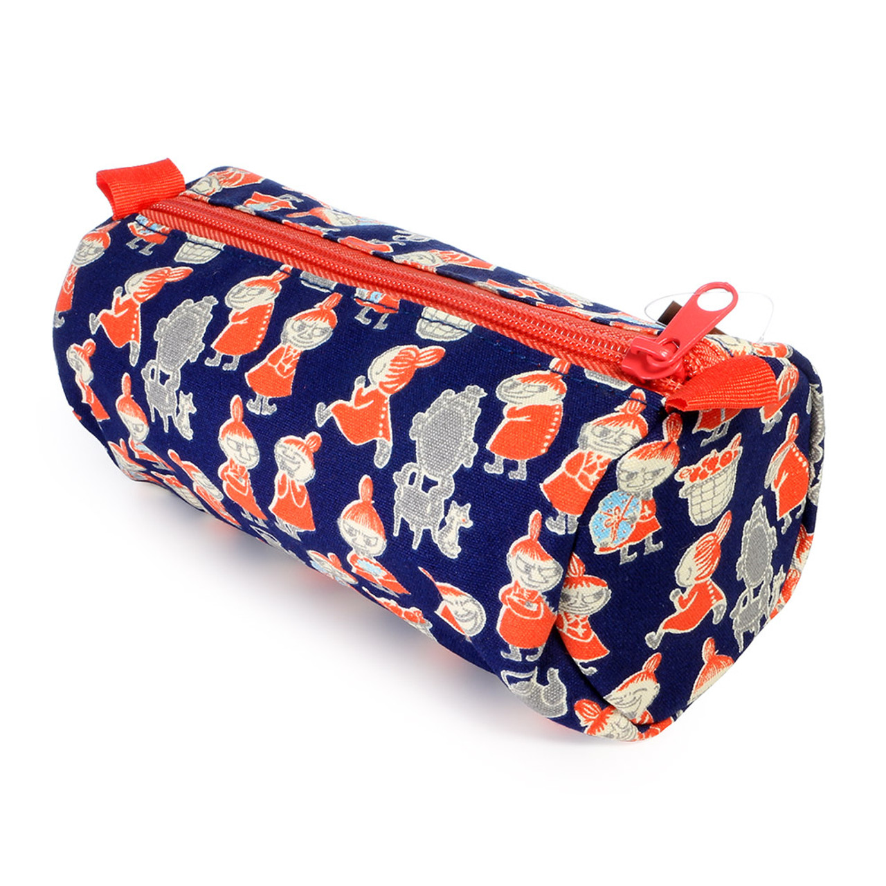 Moomin Canvas Barrel Pencil Case - Navy Blue ( Side View )