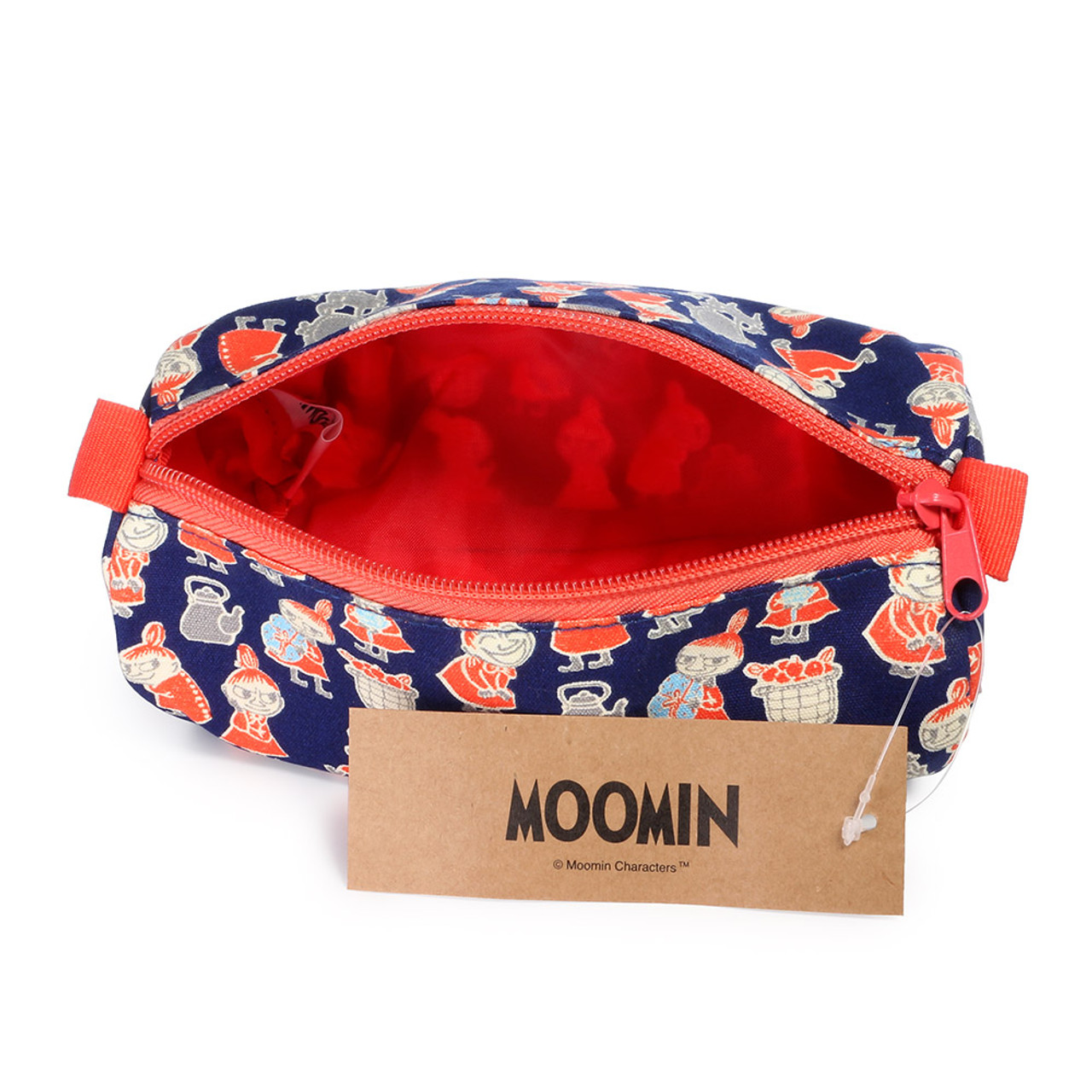 Moomin Canvas Barrel Pencil Case - Navy Blue  ( Inner View )