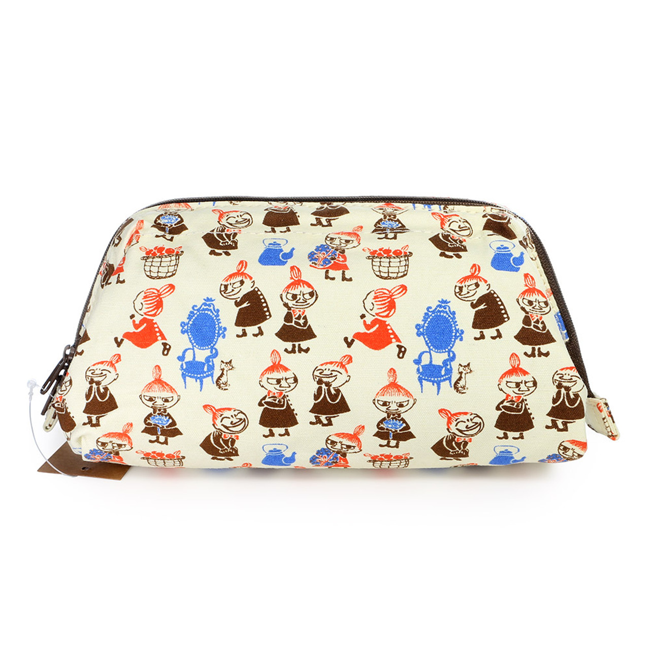 Moomin Trapezoid Canvas Makeup Bag - Beige ( Front View )