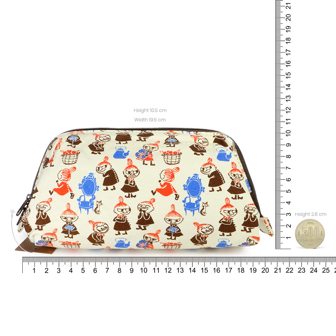 Moomin Trapezoid Canvas Makeup Bag - Beige ( Proportion )
