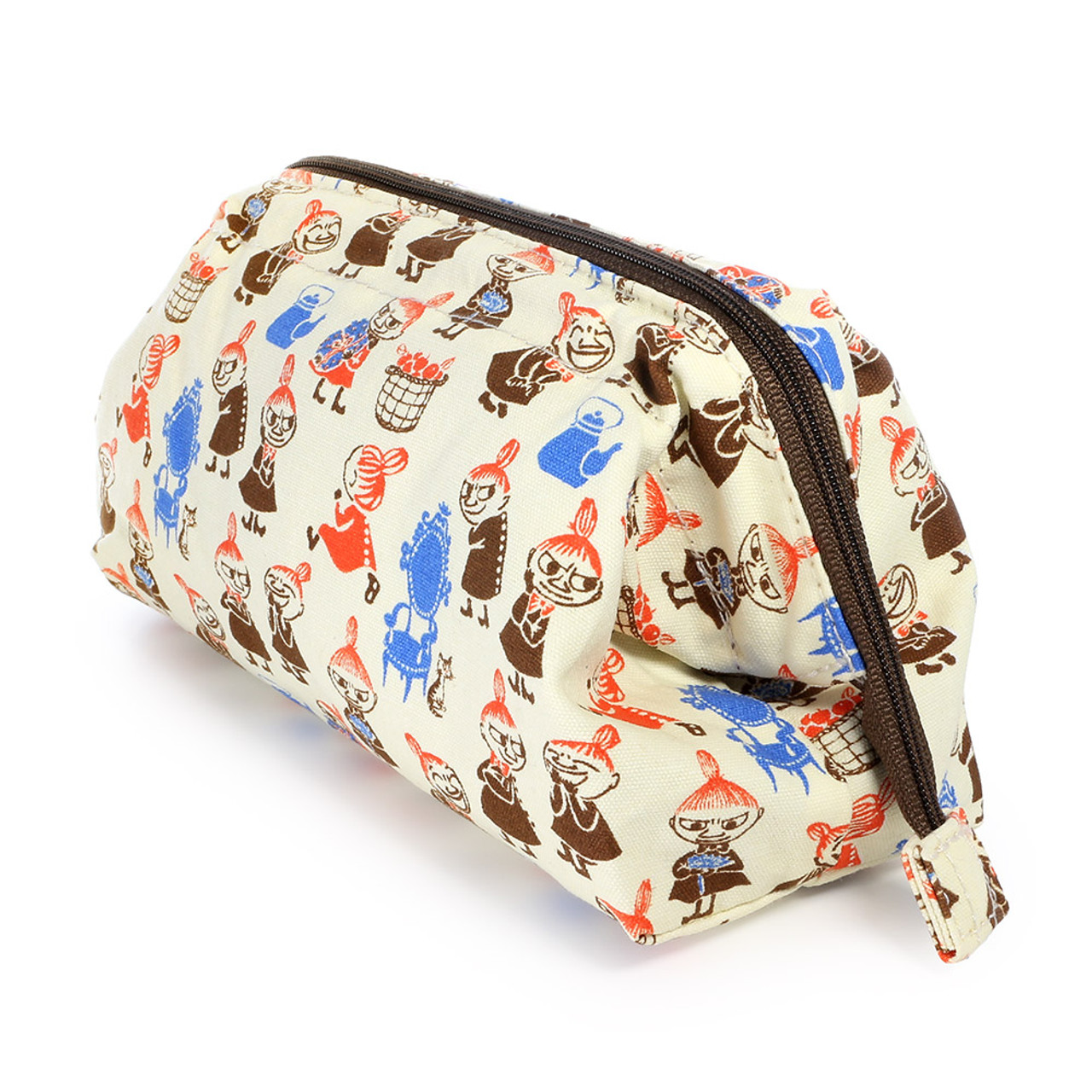 Moomin Trapezoid Canvas Makeup Bag - Beige ( Side View )