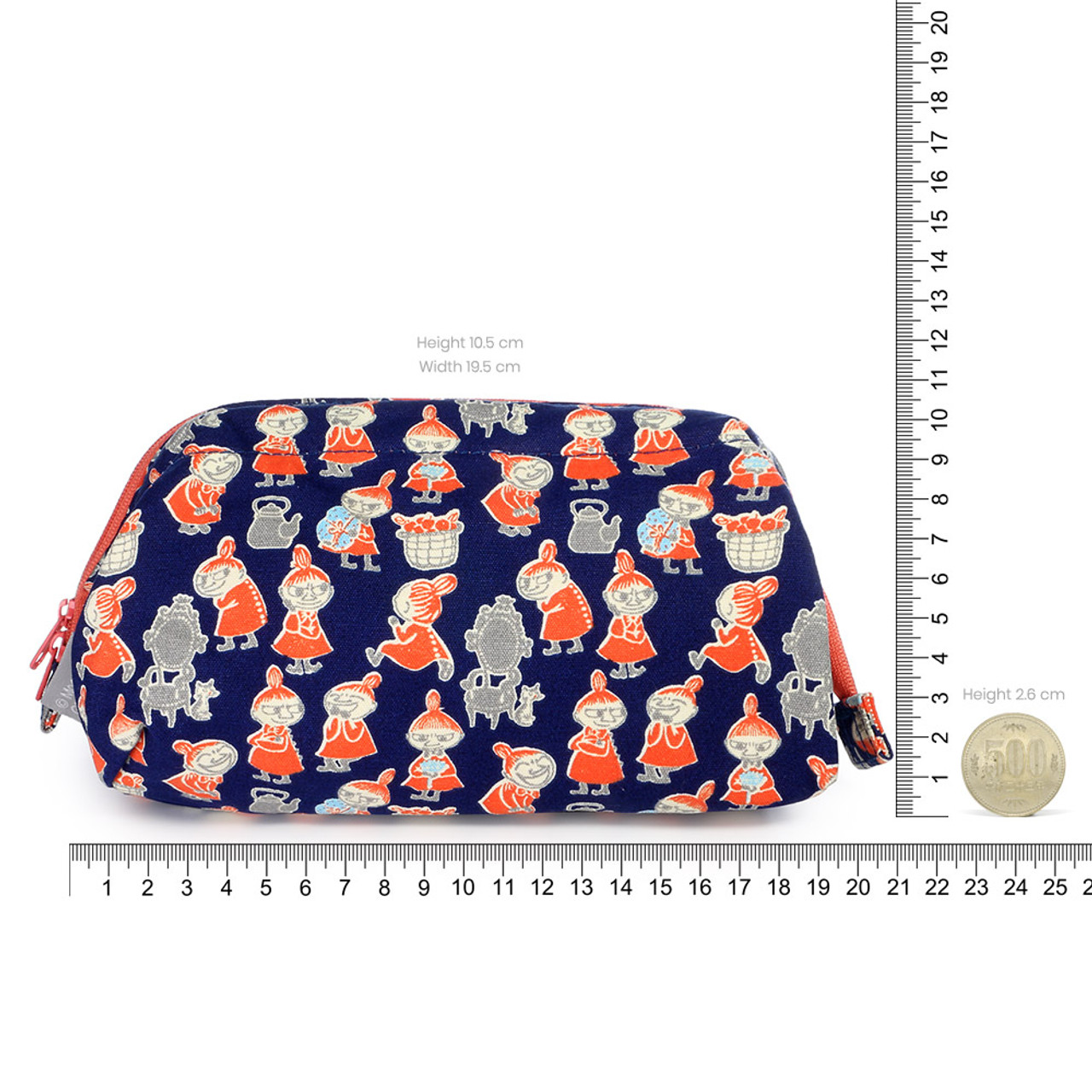 Moomin Trapezoid Canvas Makeup Bag - Navy Blue ( Proportion )