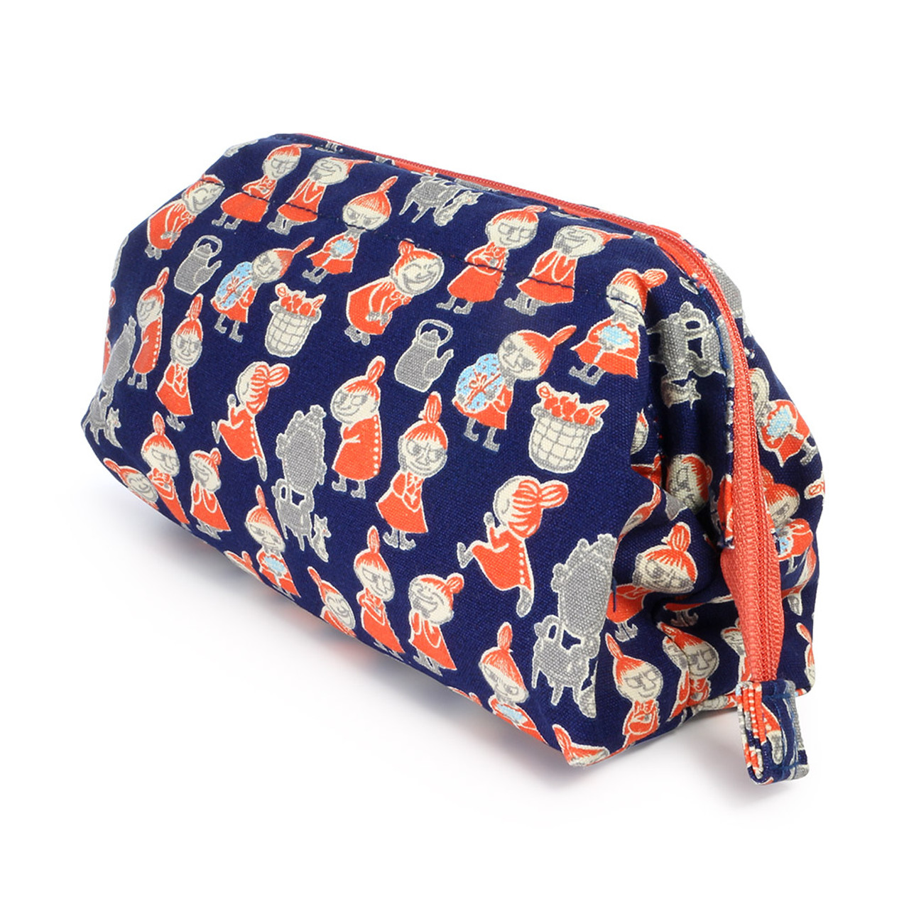 Moomin Trapezoid Canvas Makeup Bag - Navy Blue ( Side View )