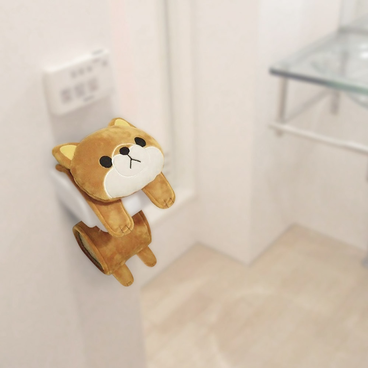 Meiho Shiba Inu Dog Toilet Roll Holder Plush Cover ( Using View )