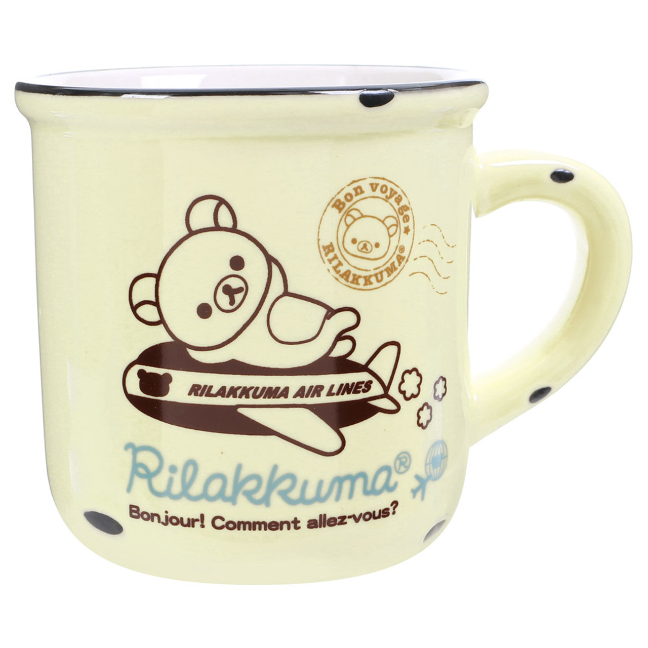 San-x Rilakkuma Cream Color Enamel Style Cup ( Front View )