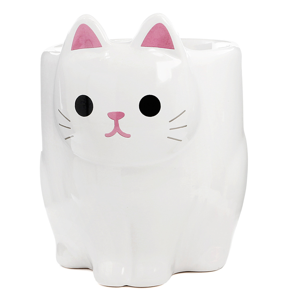 Japan MEIHO Pottery White Cat Cup ( Front View )