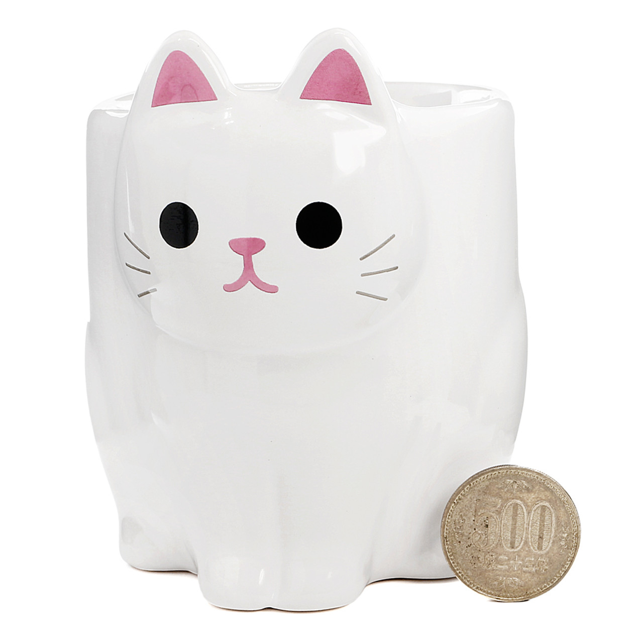 Japan MEIHO Pottery White Cat Cup ( Proportion )