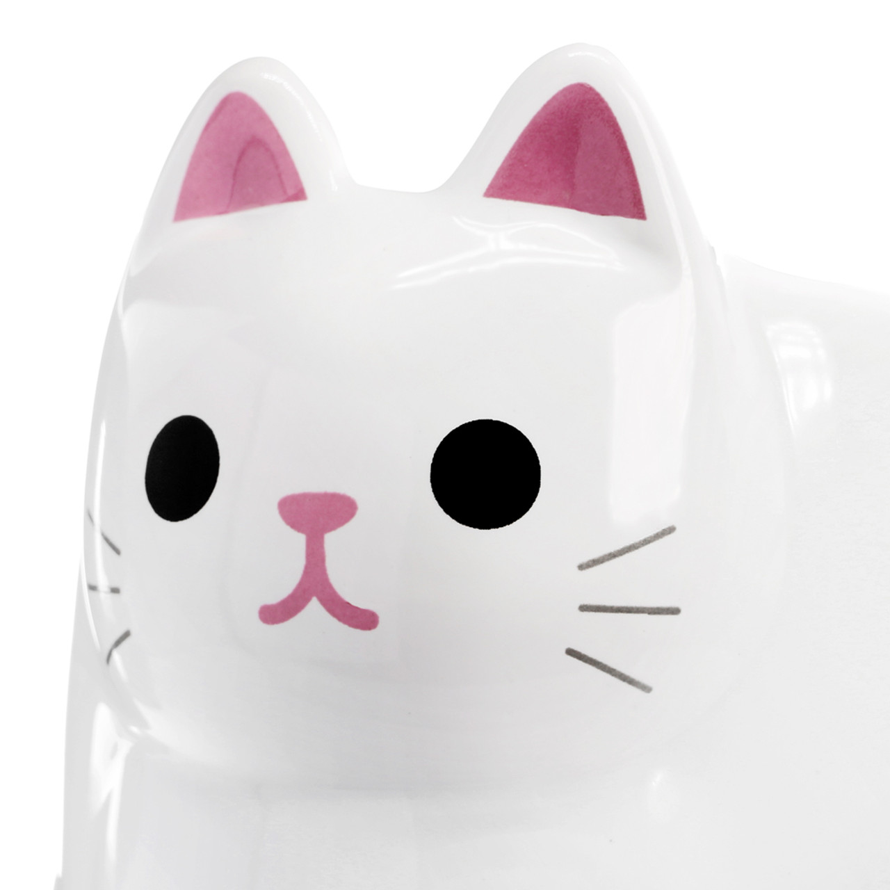 Japan MEIHO Pottery White Cat Cup ( Close-up )