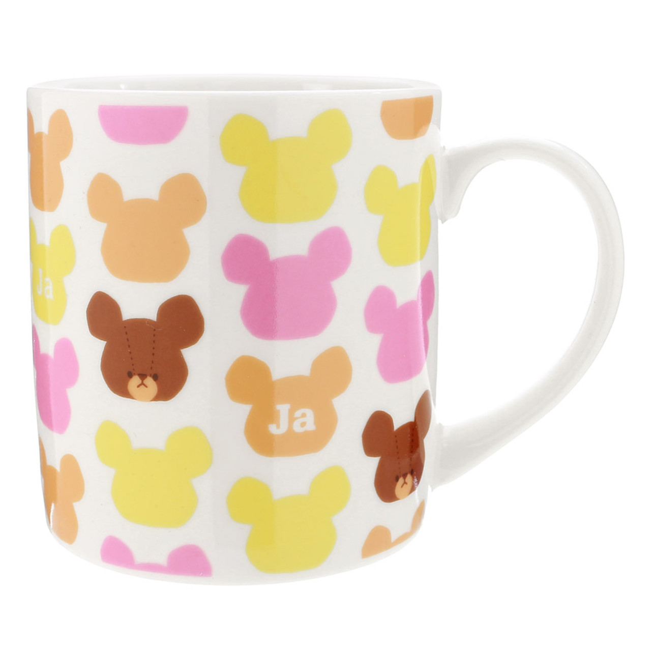 Bear School Jackie Pattern Ceramic Mug With Lid ( Front View )