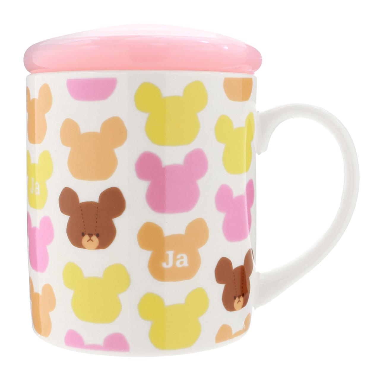 Bear School Jackie Pattern Ceramic Mug With Lid ( Mug + Lid View )