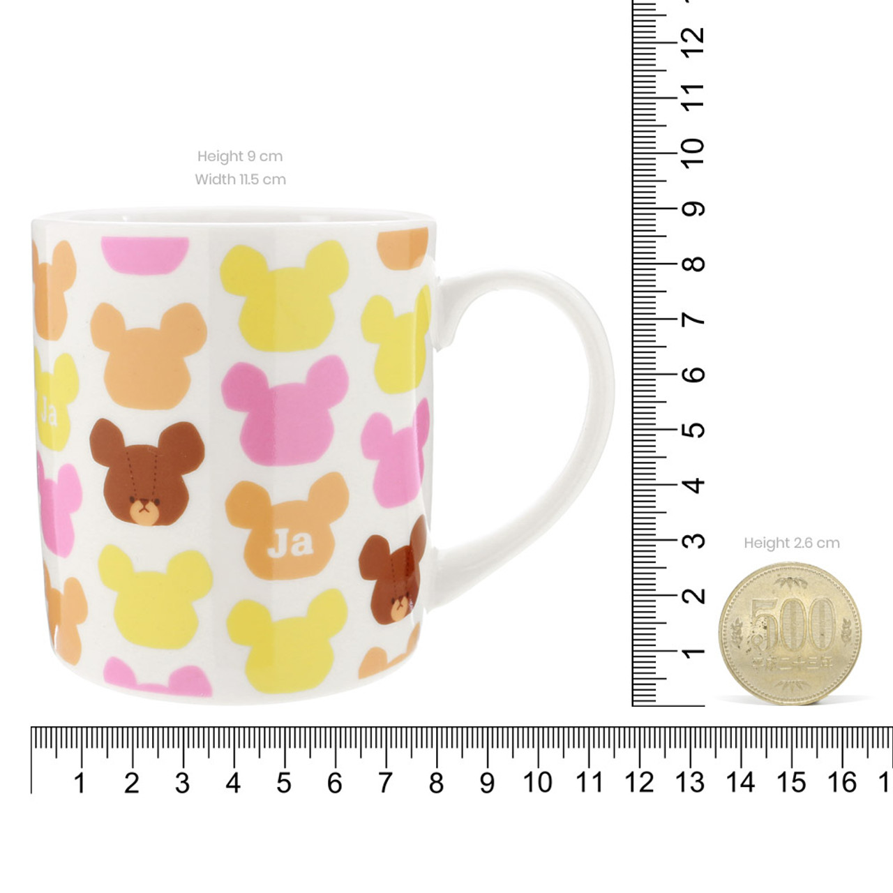 Bear School Jackie Pattern Ceramic Mug With Lid ( Proportion )