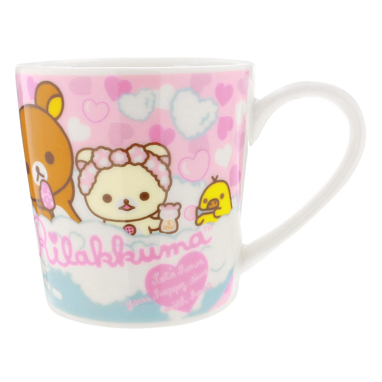 San-x Rilakkuma Bath Time Light Pink Ceramic Mug - Heart ( Front View )