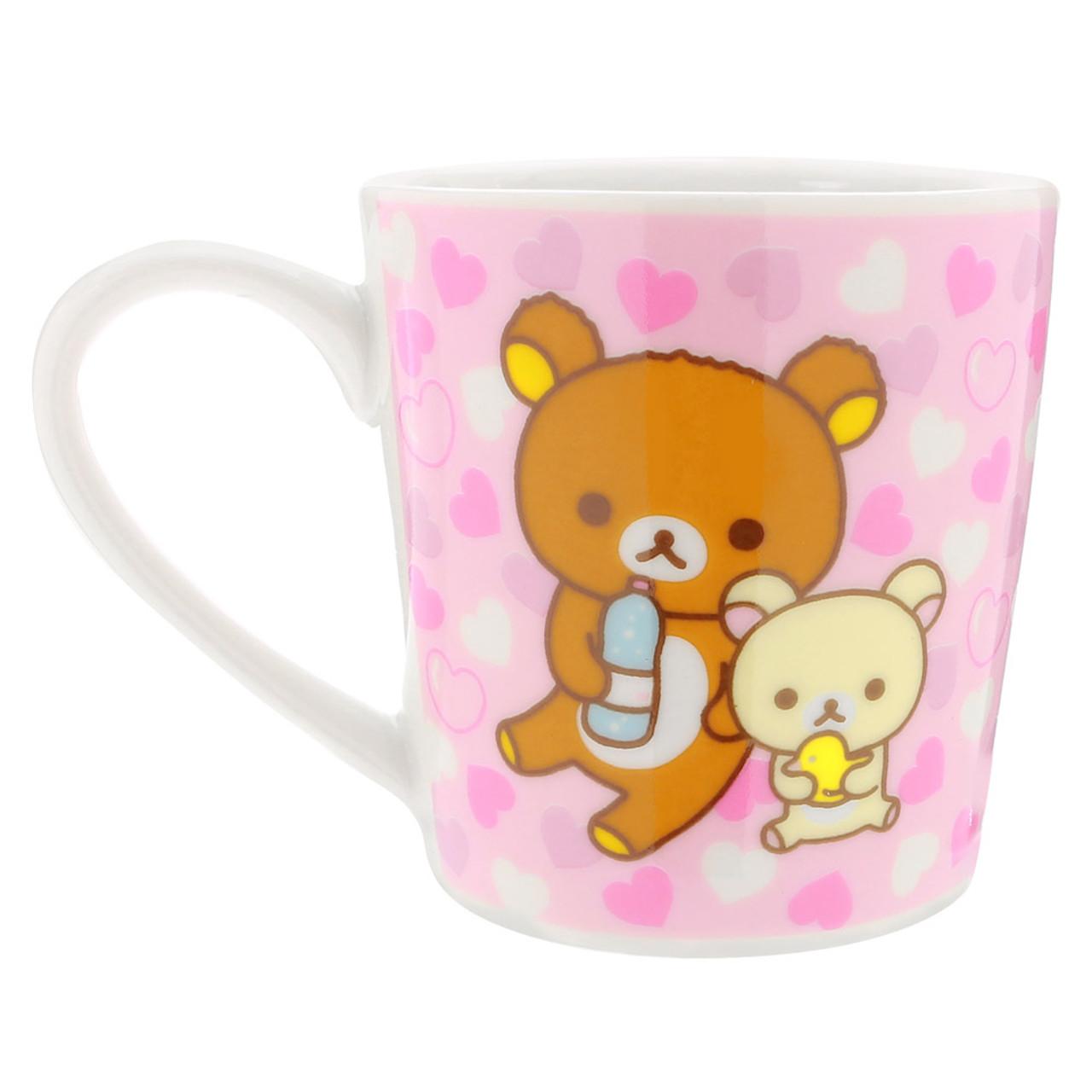 San-x Rilakkuma Bath Time Light Pink Ceramic Mug - Heart ( Back View )