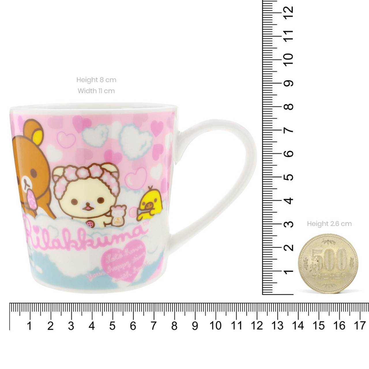 San-x Rilakkuma Bath Time Light Pink Ceramic Mug - Heart ( Proportion )