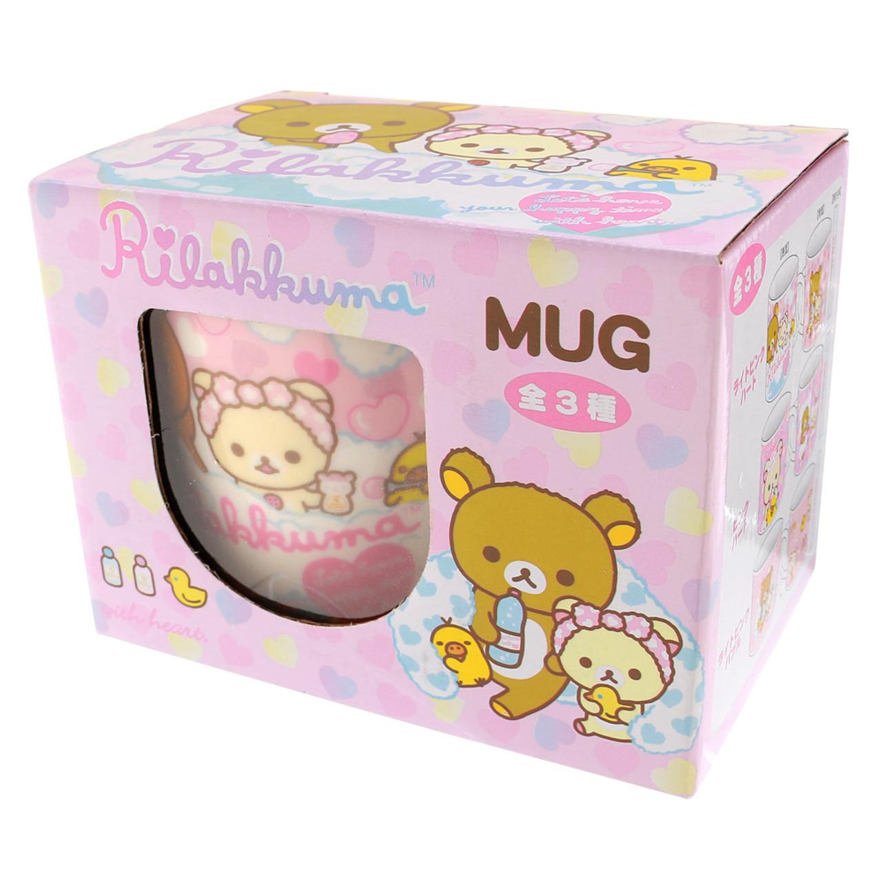 San-x Rilakkuma Bath Time Light Pink Ceramic Mug - Heart ( Box View )