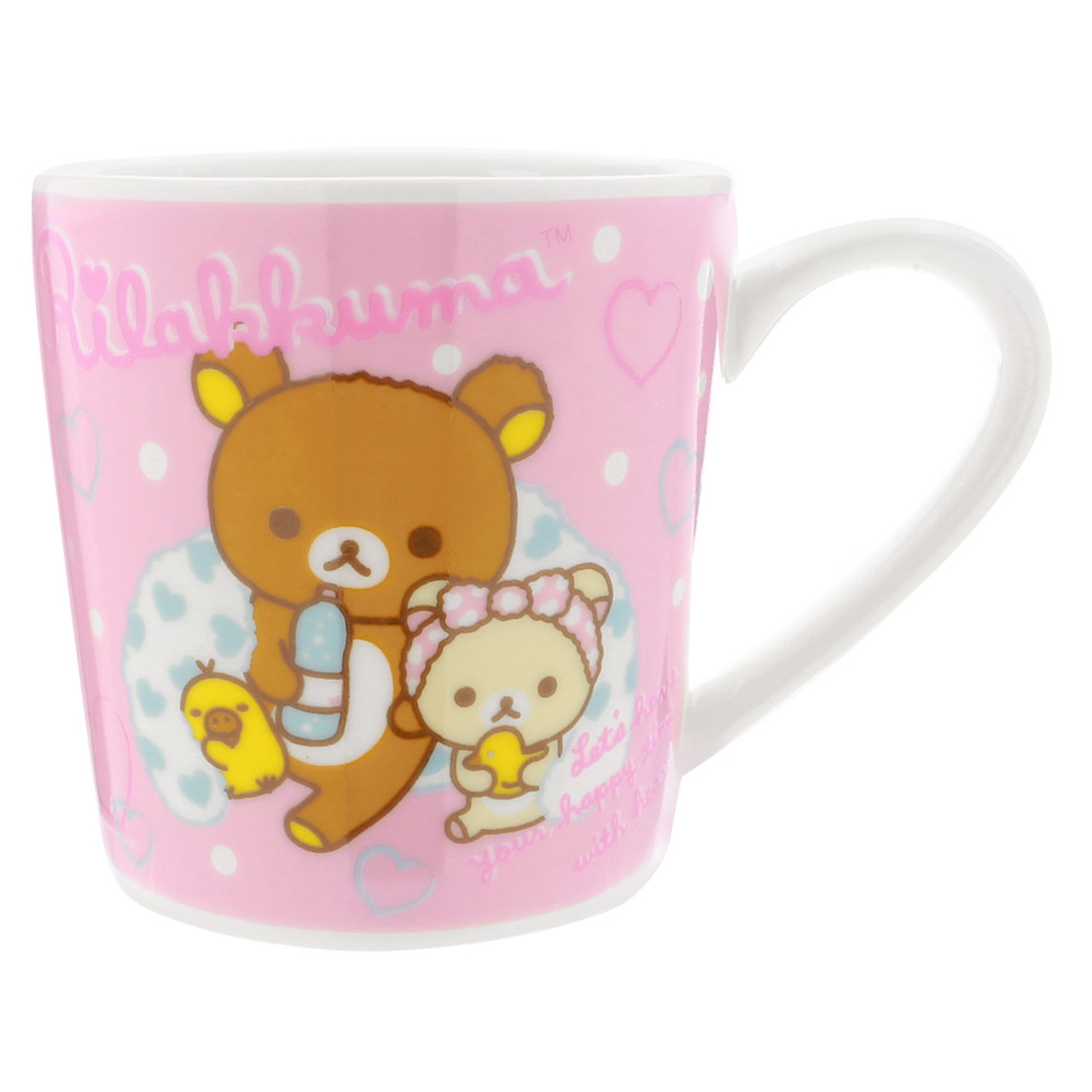 San-x Rilakkuma Bath Time Light Pink Ceramic Mug - Bubble ( Front View )