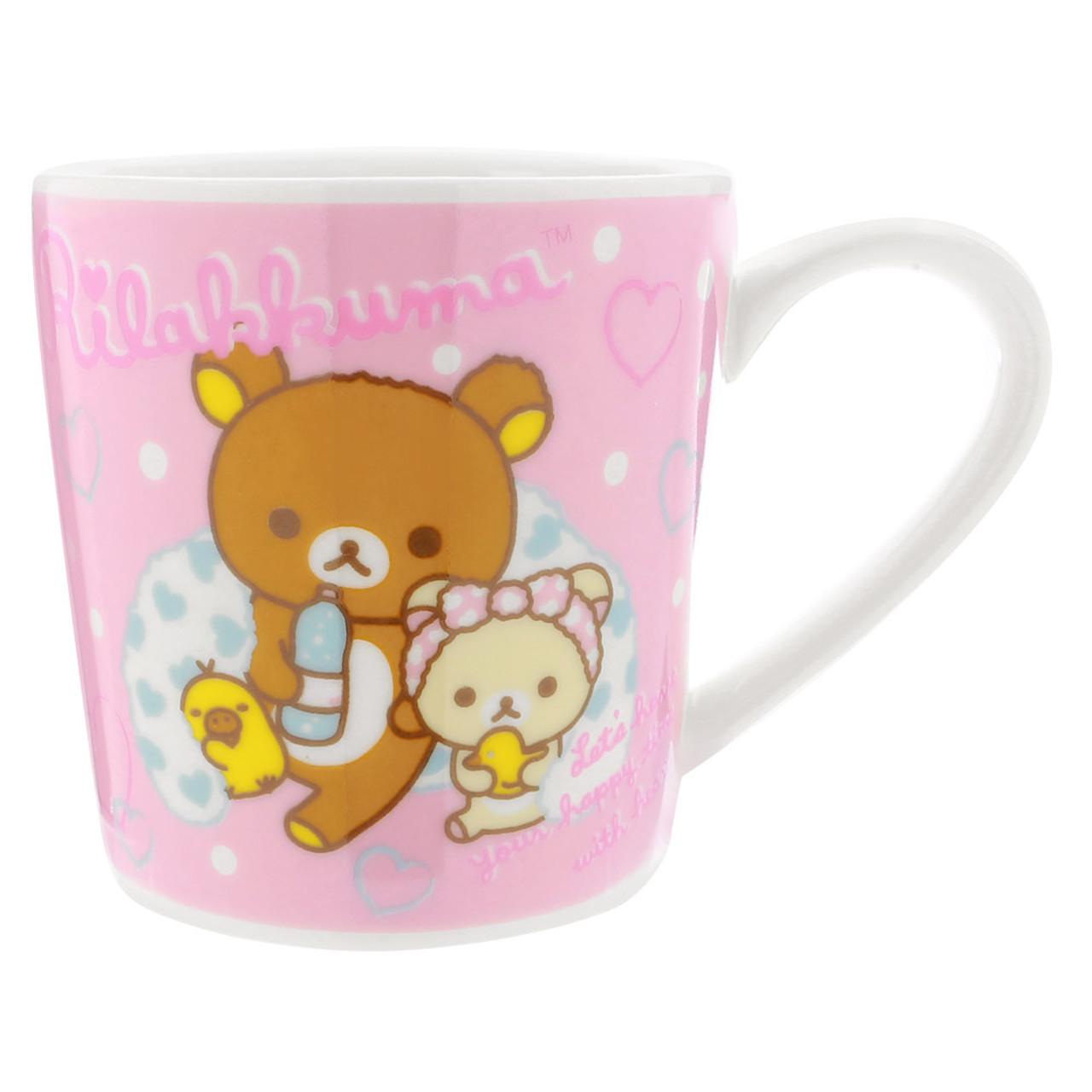 San-x Rilakkuma Bath Time Light Pink Ceramic Cup - Bubble ( Front View )