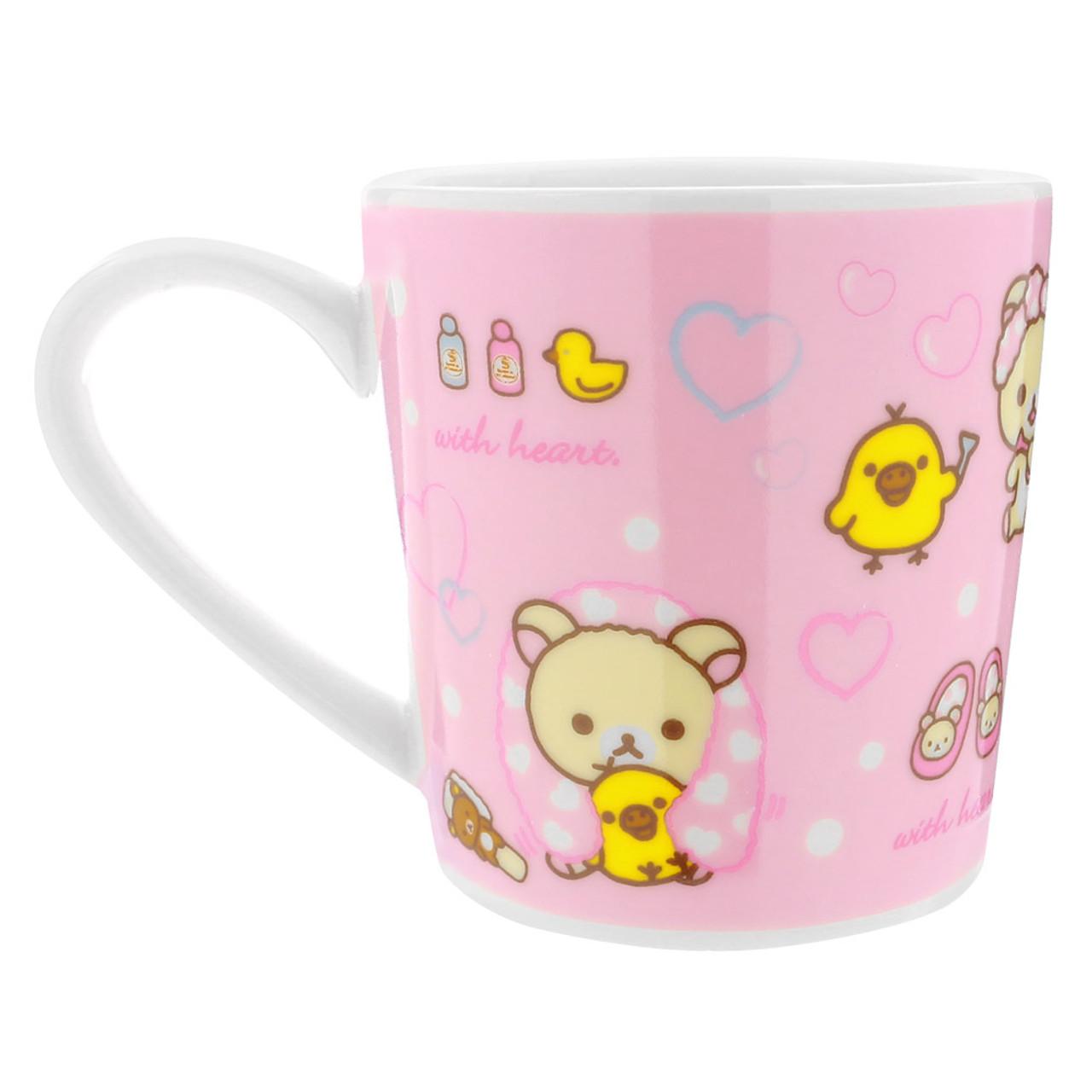 San-x Rilakkuma Bath Time Light Pink Ceramic Cup - Bubble ( Back View )