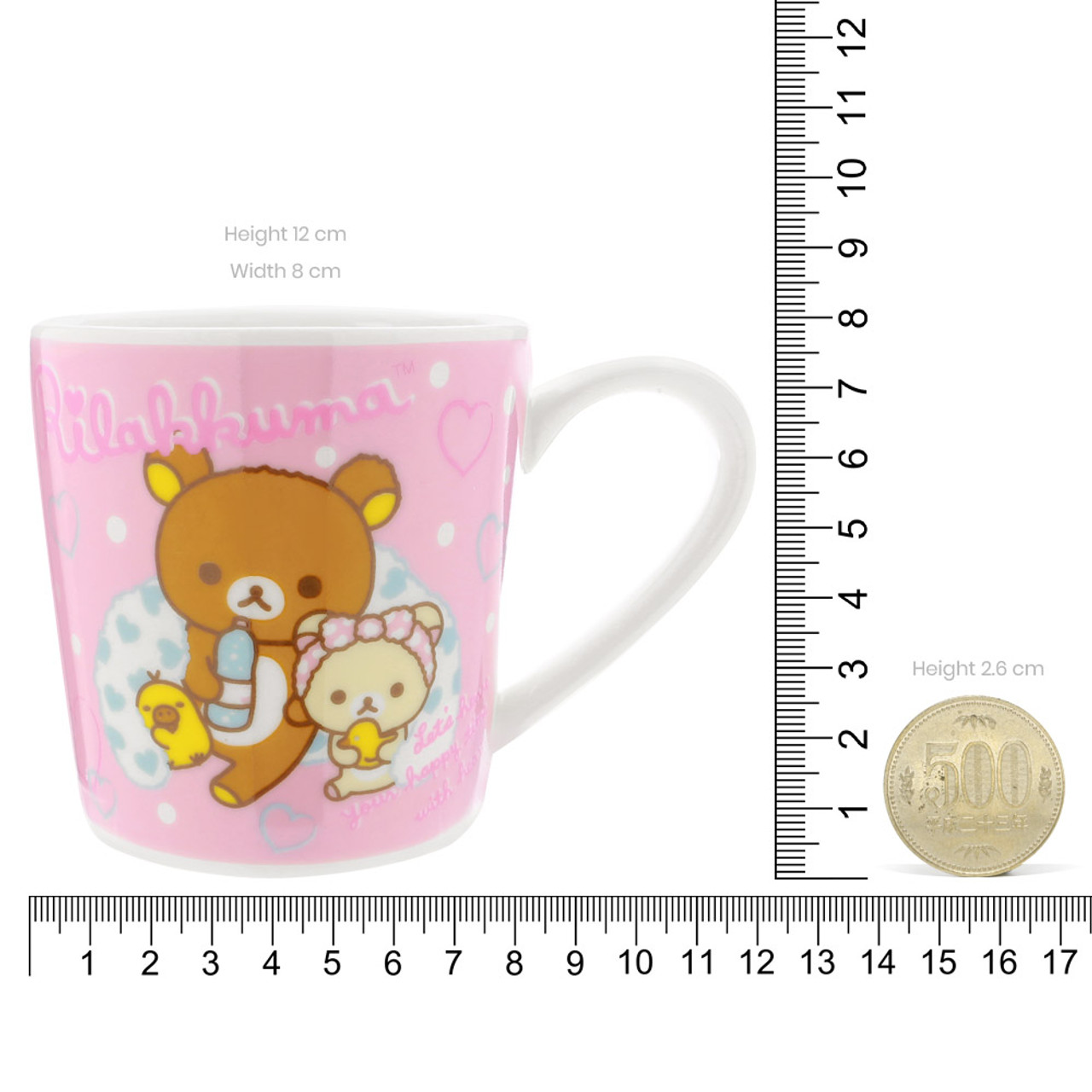 San-x Rilakkuma Bath Time Light Pink Ceramic Mug - Bubble ( Proportion )