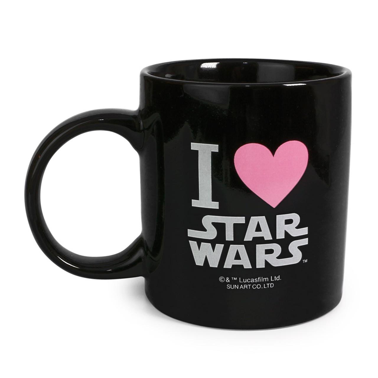 Star Wars R2-D2 Typography Black Ceramic Mug ( Back View )