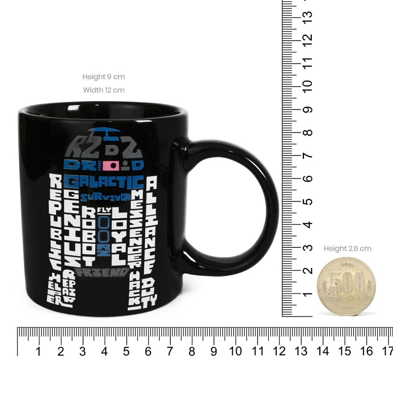 Star Wars R2-D2 Typography Black Ceramic Cup ( Proportion )