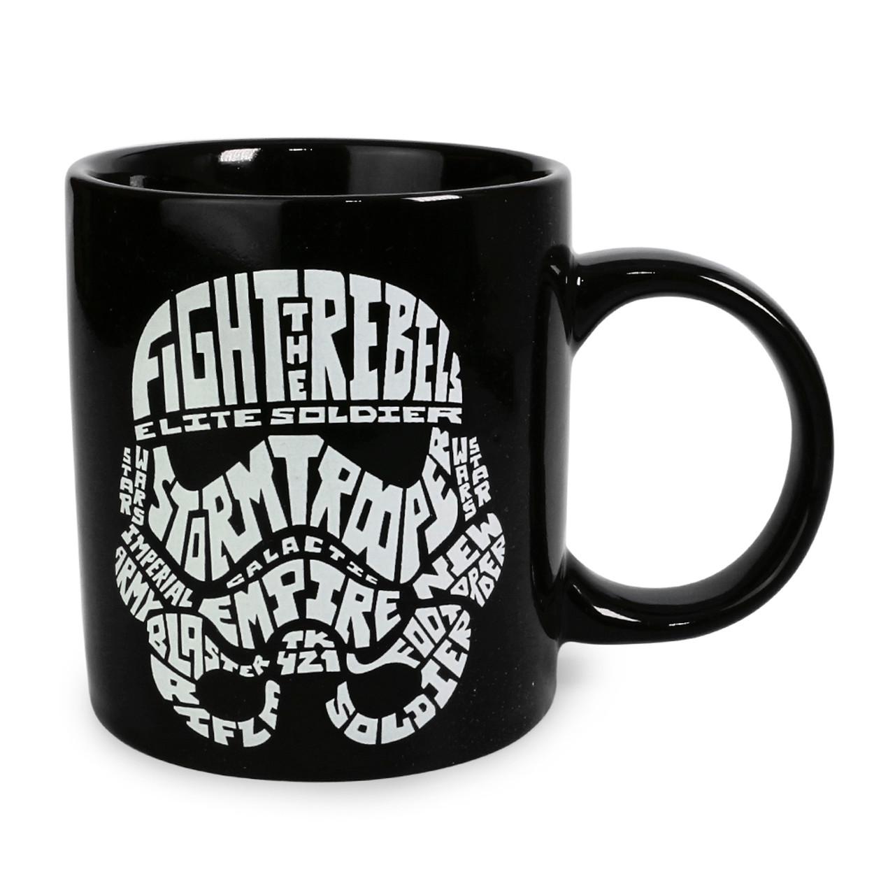 Star Wars Stormtrooper Typography Black Ceramic Mug ( Front View )