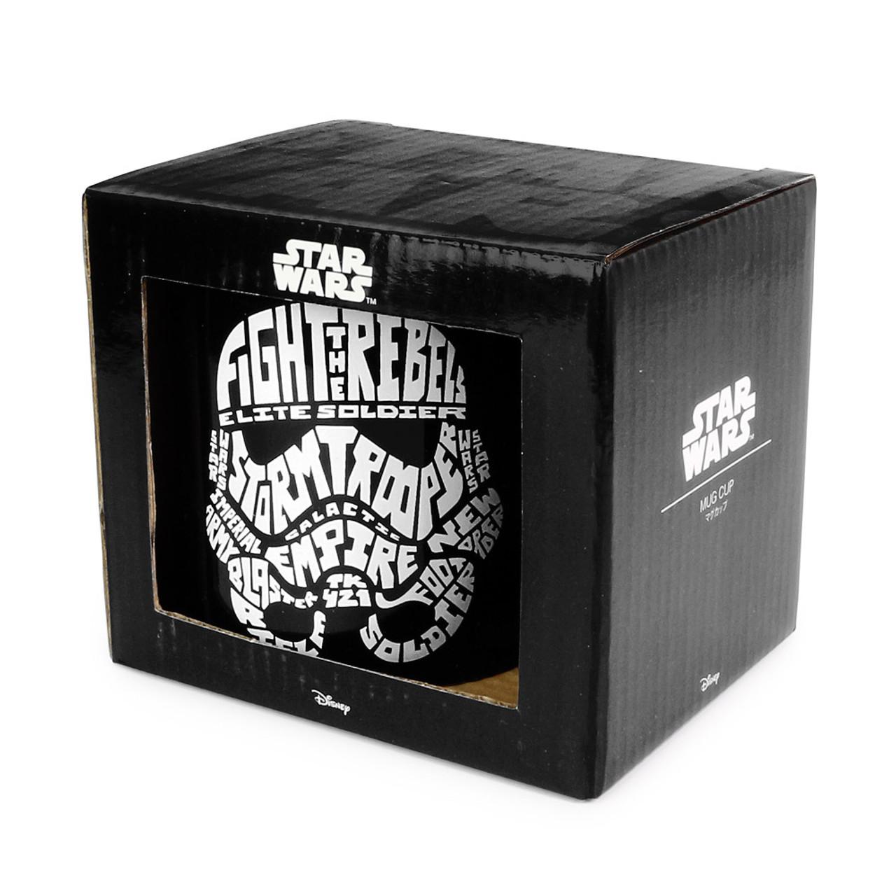 Star Wars Stormtrooper Typography Black Ceramic Mug ( Box View )