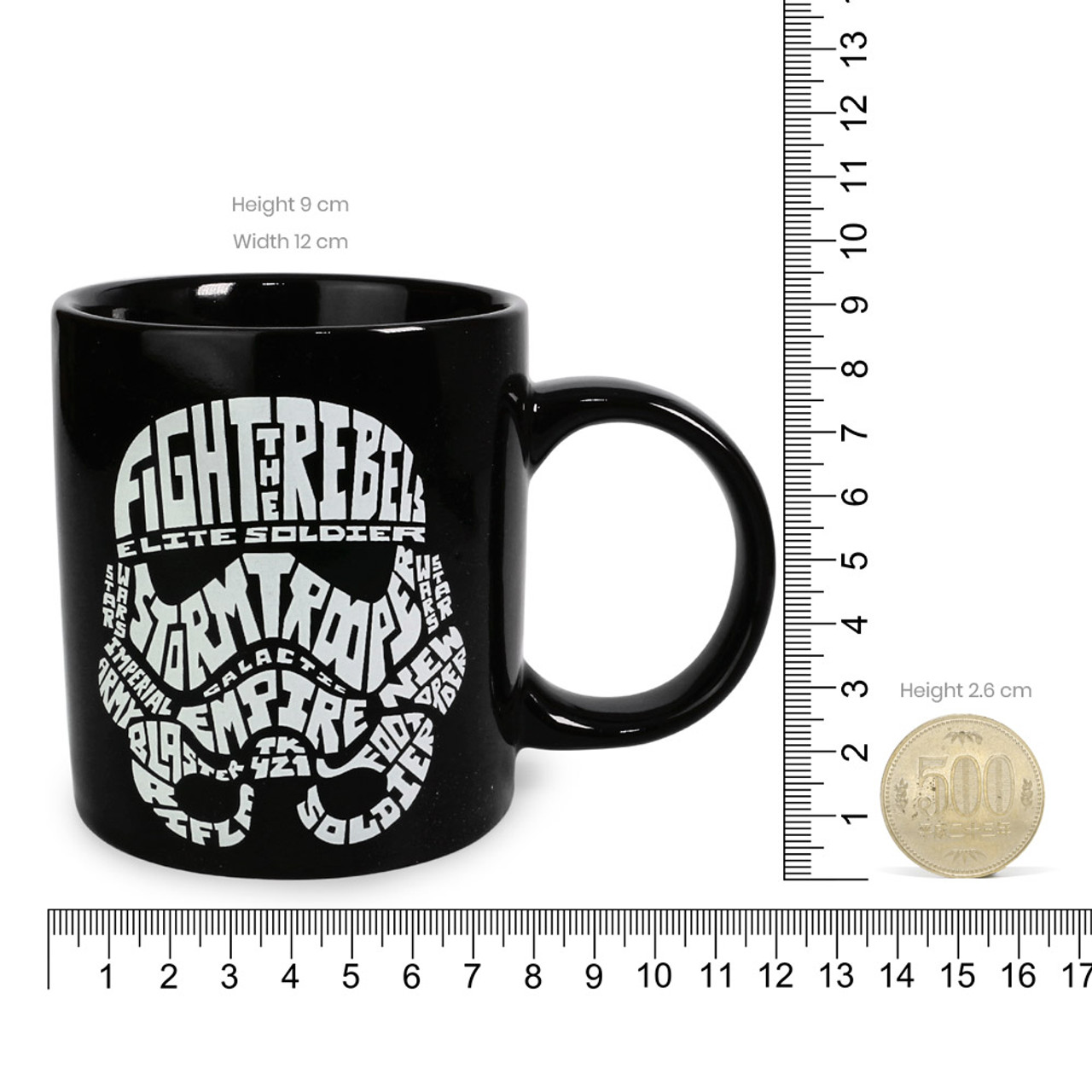 Star Wars Stormtrooper Typography Black Ceramic Cup ( Proportion )