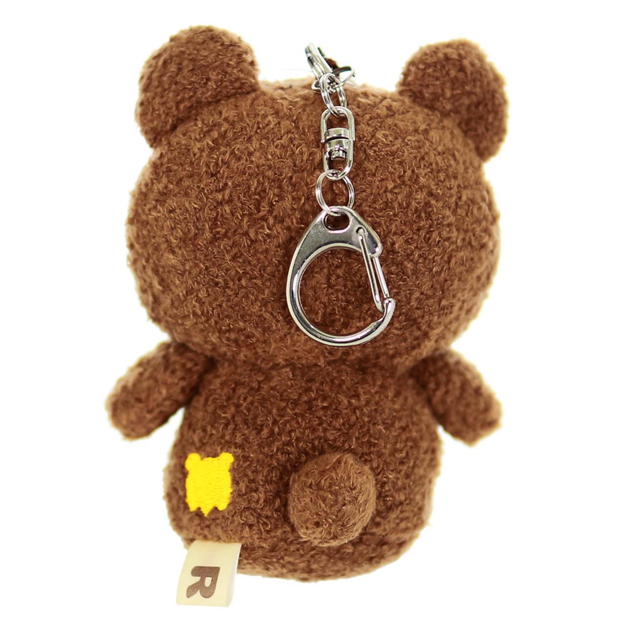 San-x Cute Chairoikoguma Curly Plush Keychain charm ( Back View With Buckle )