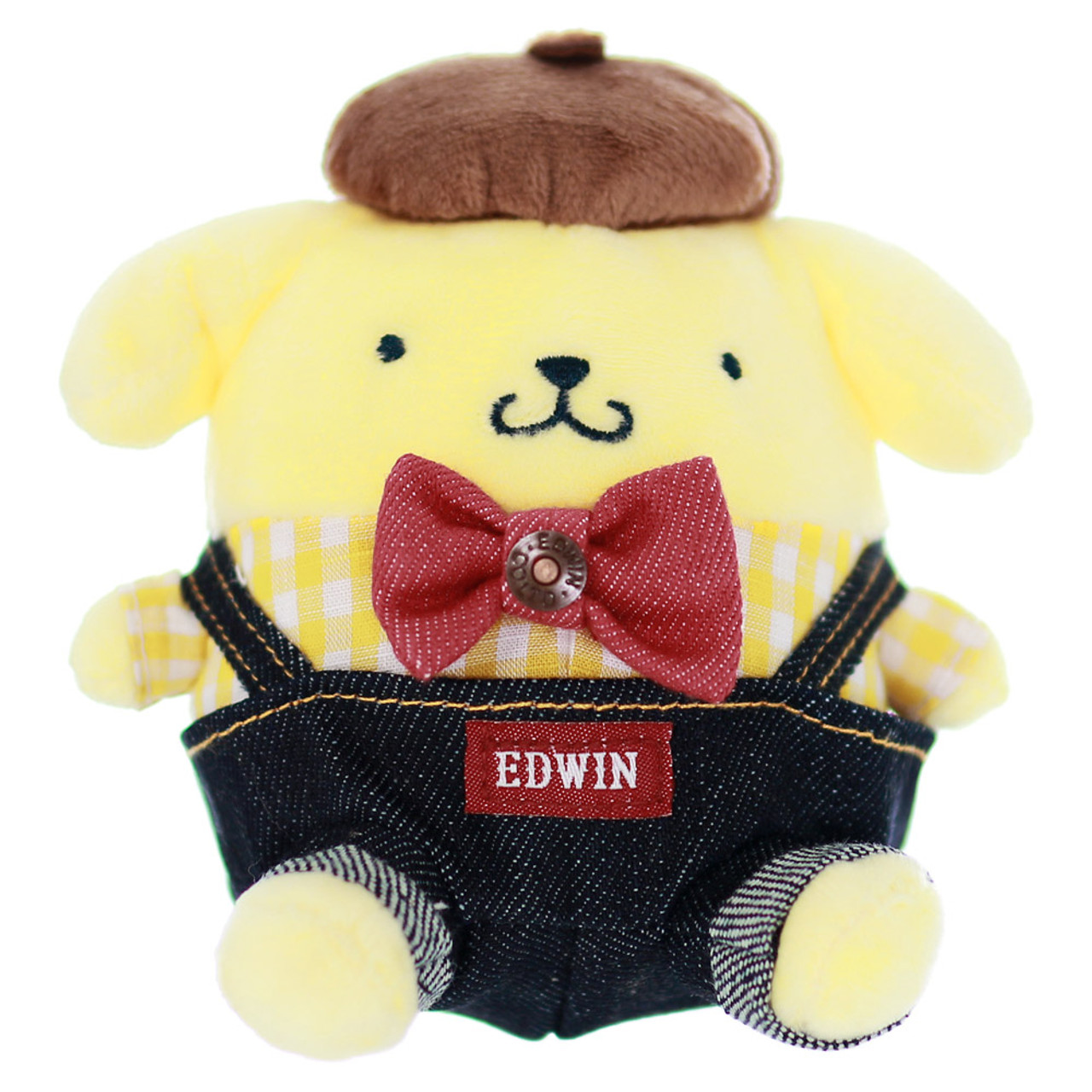Sanrio PomPomPurin x Edwin Denim Dungarees Stuffed Animal Toy( Front View )