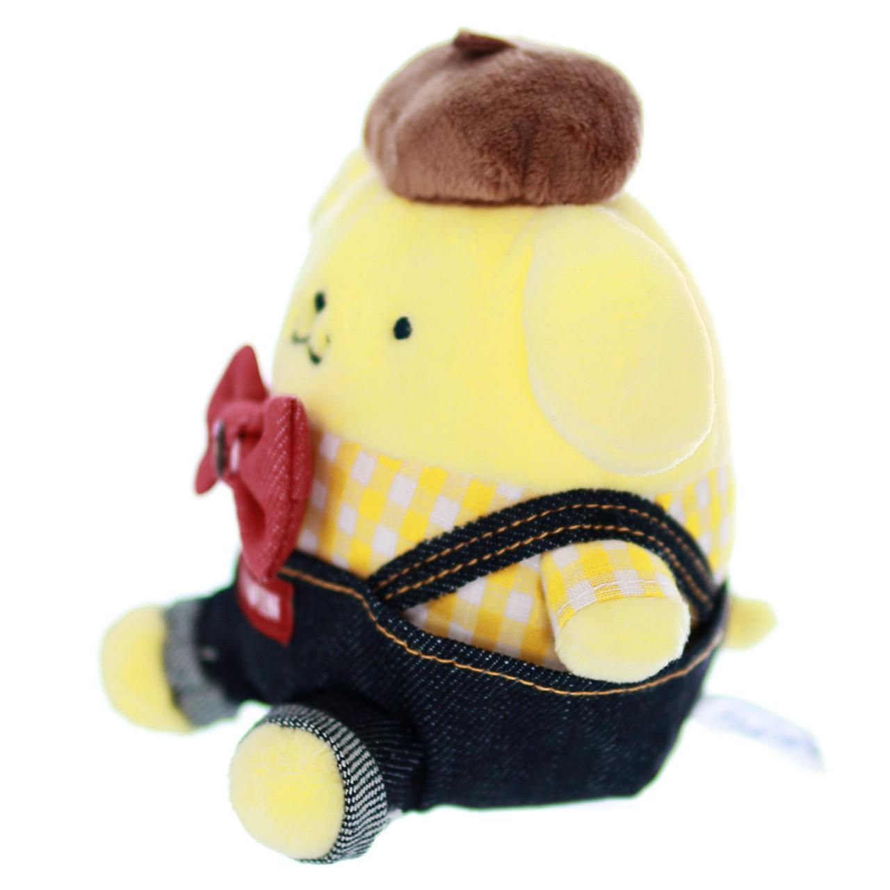 Sanrio PomPomPurin x Edwin Denim Dungarees Stuffed Animal Toy ( Side View )
