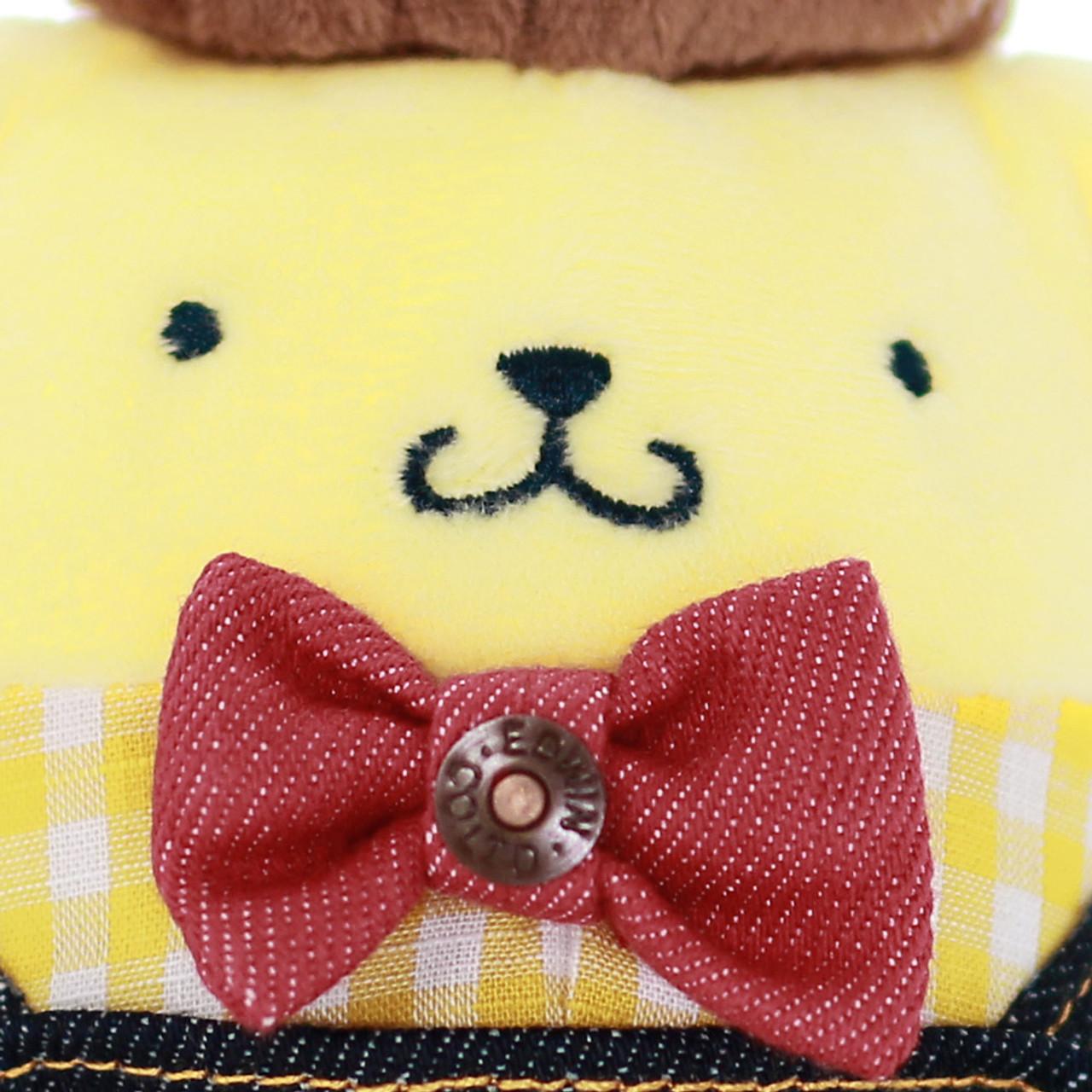 Sanrio PomPomPurin x Edwin Denim Dungarees Stuffed Animal Toy ( Bowtie Close-up )