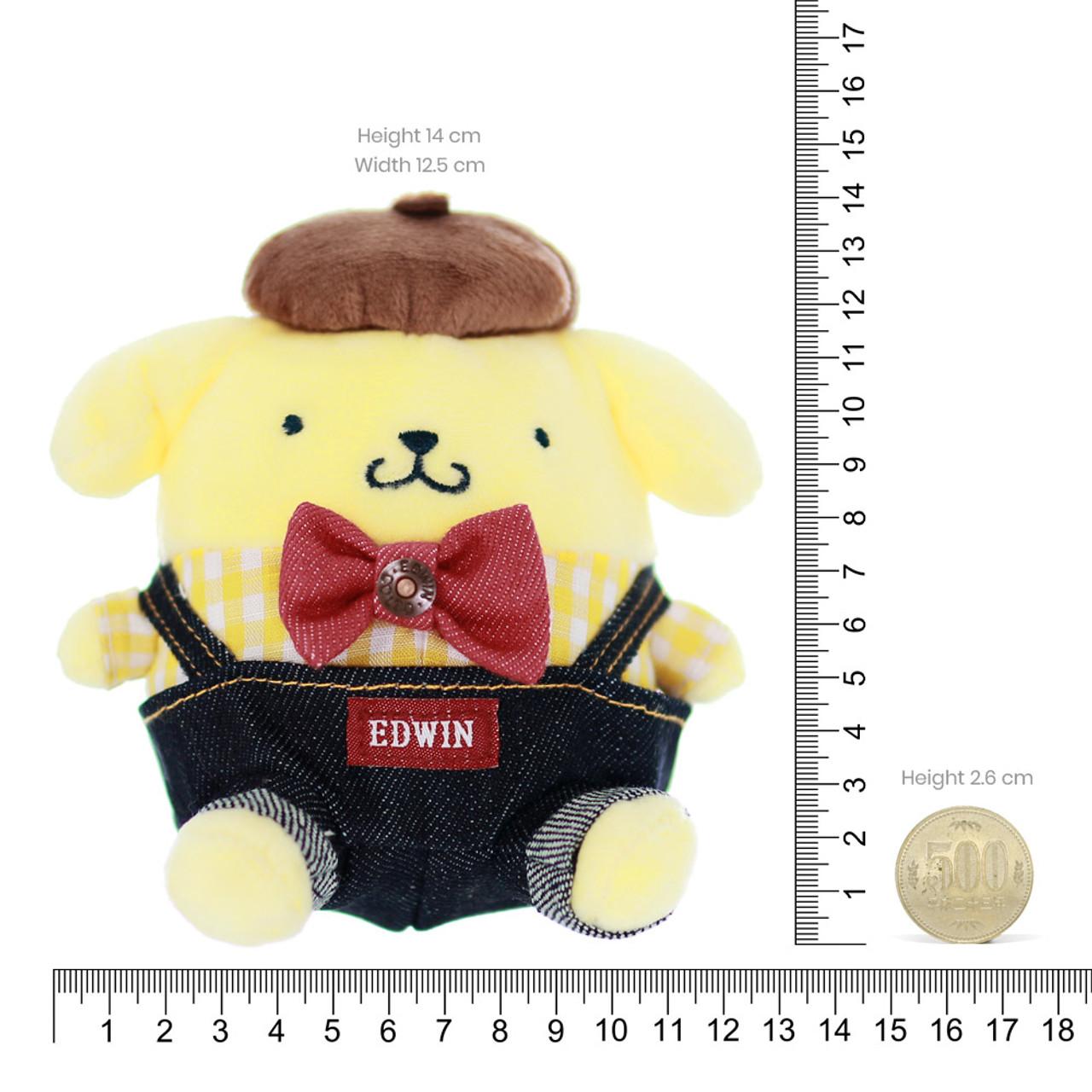 Sanrio PomPomPurin x Edwin Denim Dungarees Stuffed Animal Toy ( Proportion )