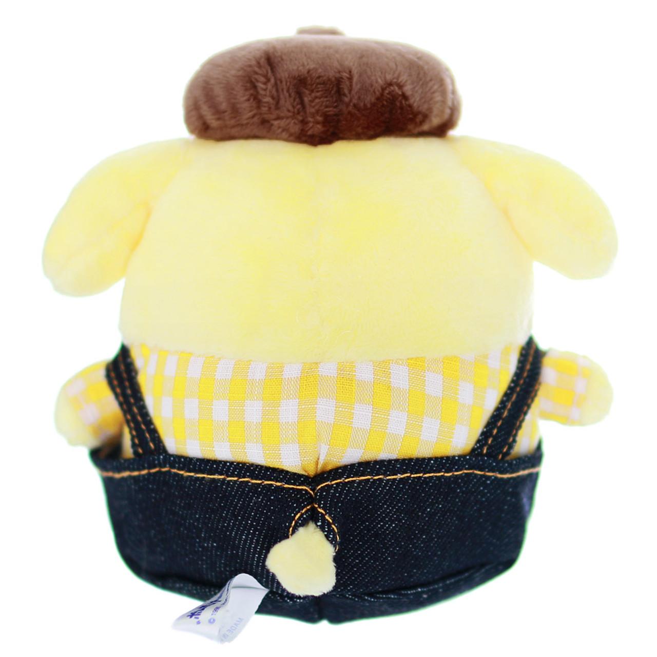 Sanrio PomPomPurin x Edwin Denim Dungarees Stuffed Animal Toy ( Back View )
