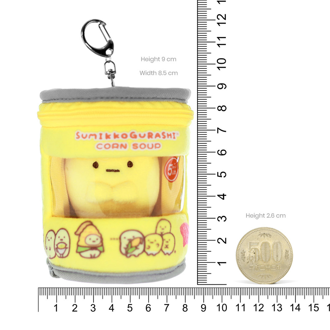 Sumikko Gurashi Premium Corn Can Plush keychain Charm ( Proportion )