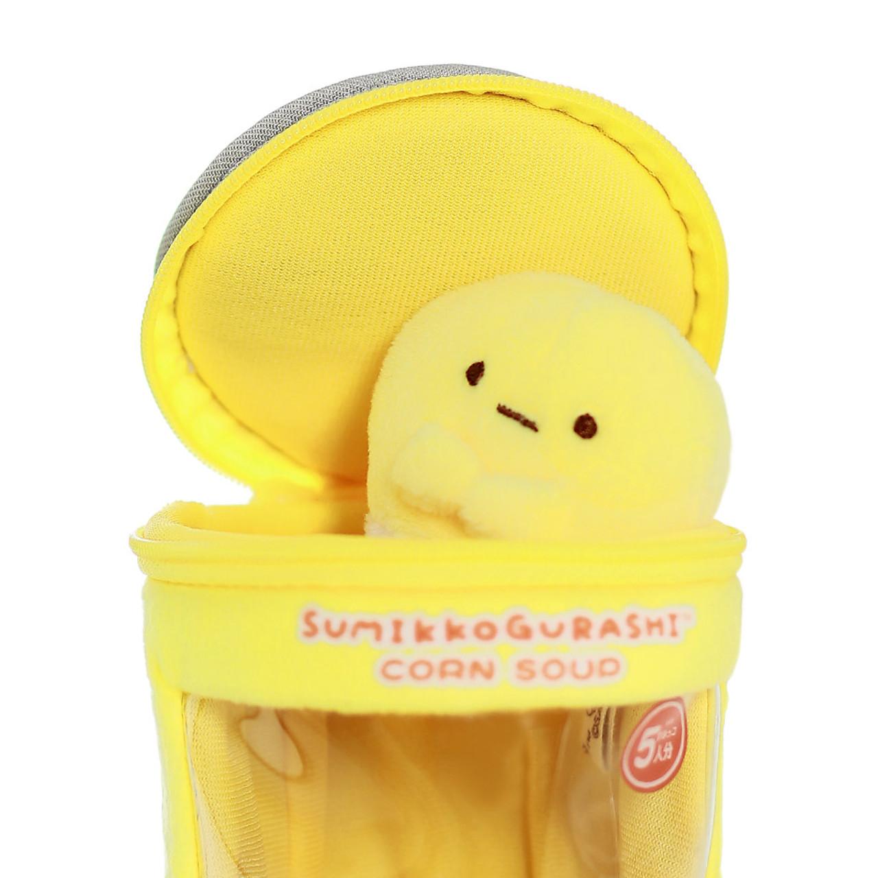 Sumikko Gurashi Premium Corn Can Plush keychain Charm ( Take out from top of the zipper )