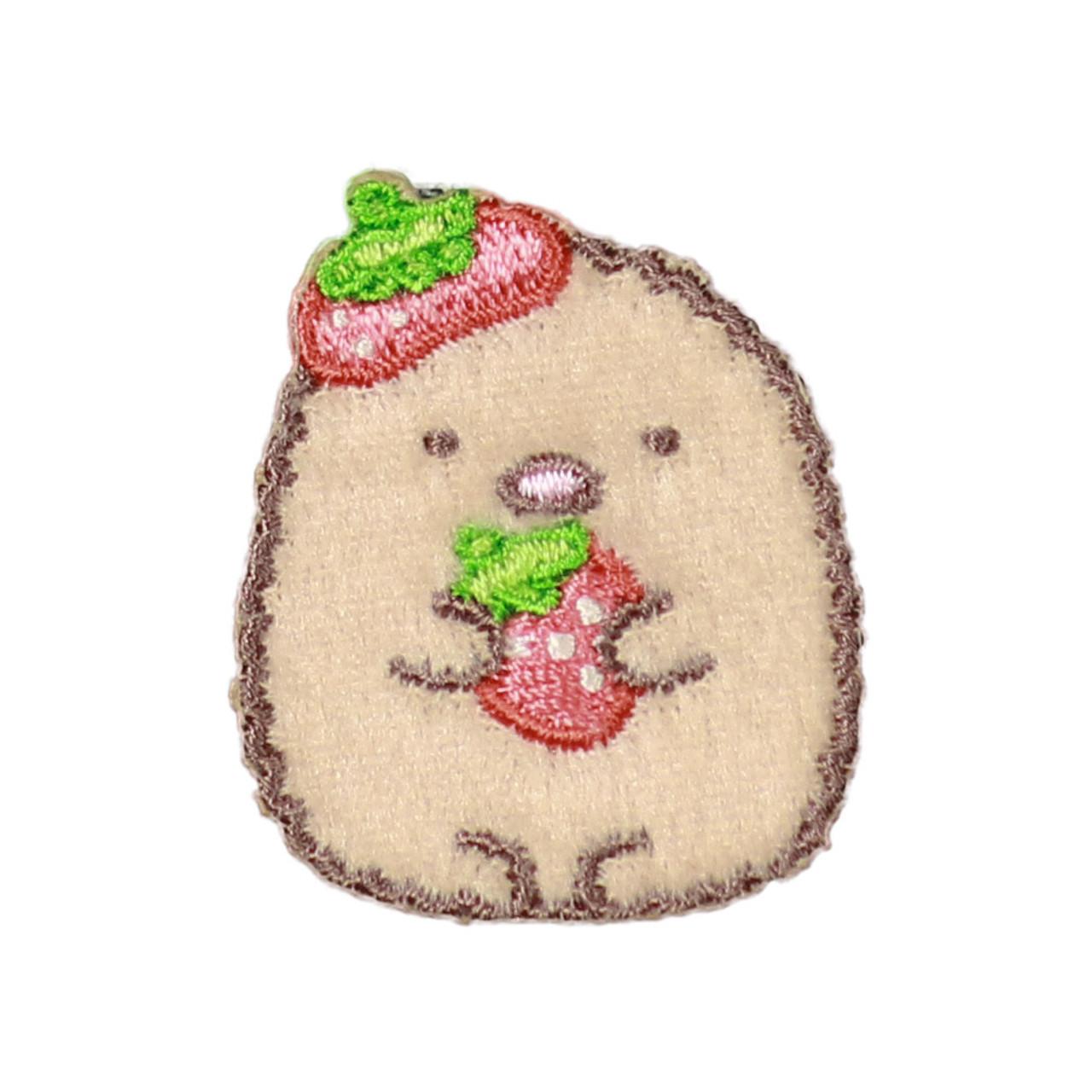 Sumikko Gurashi Iron On Patch Strawberry Pork Cutlet PSU131 ( Front View )