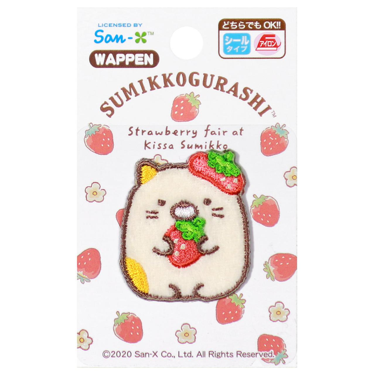Sumikko Gurashi Iron On Patch Strawberry Neko Cat PSU132 ( Packing View )