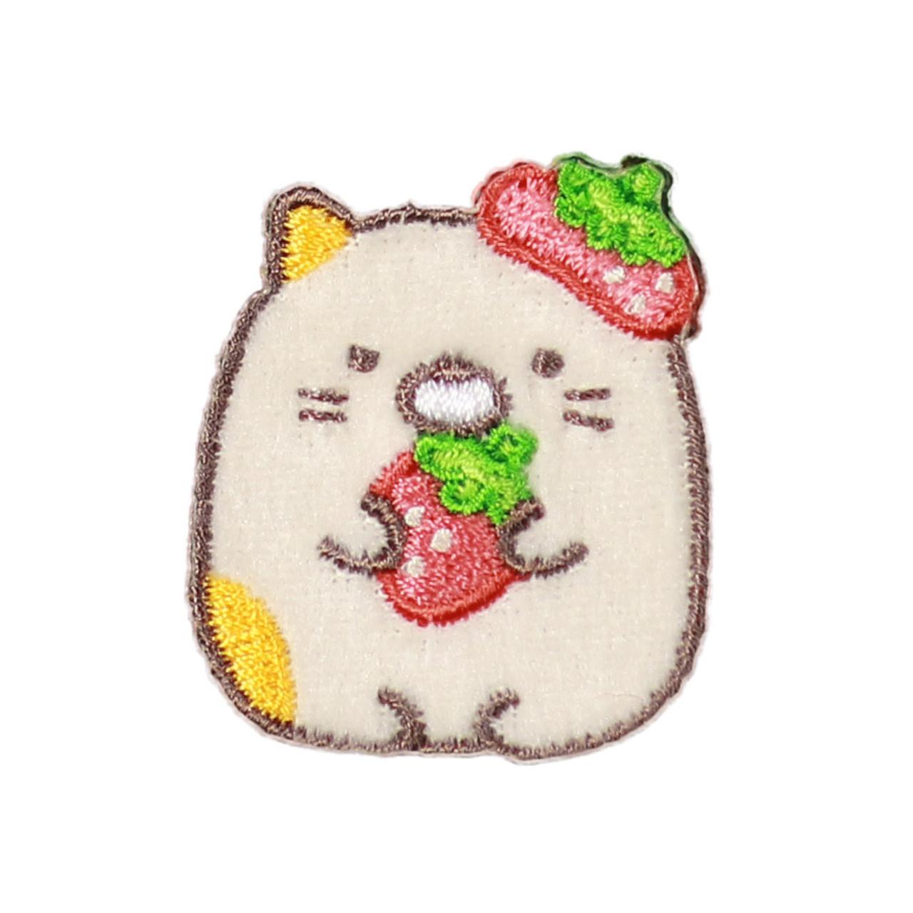 Sumikko Gurashi Iron On Patch Strawberry Neko Cat PSU132 ( Front View )