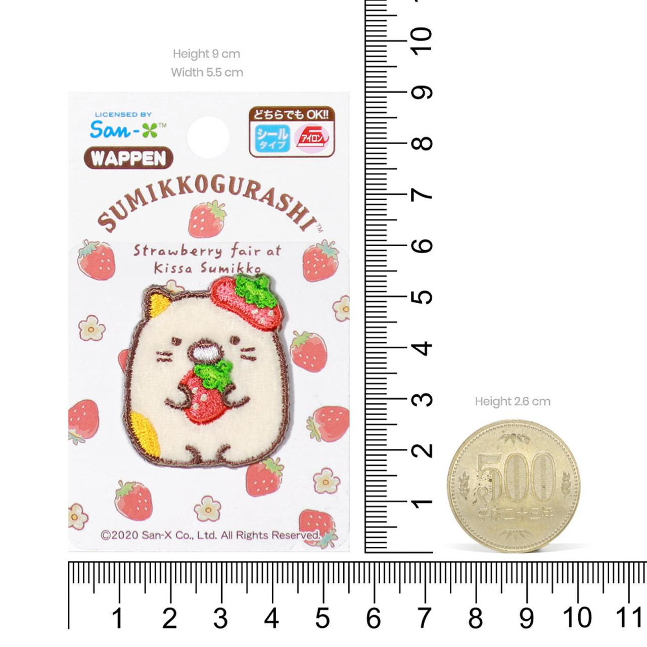 Sumikko Gurashi Iron On Patch Strawberry Neko Cat PSU132 ( Proportion )