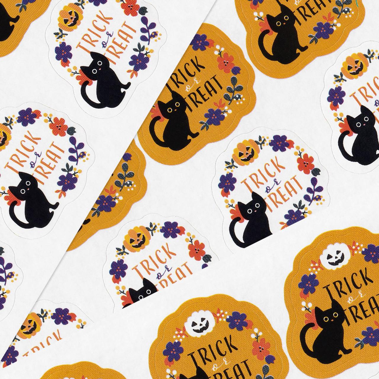 Kawaii Halloween Cat Trick And Treat Sticker 4 Sheet ( Cover )